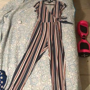 Derek Heart Striped Jumpsuit